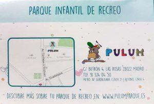 Tarjeta invitación parque de bolas Pulum Madrid